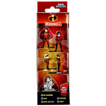 Incredibles Nano Metalfigs Mr. Incredible, Dash, Metal Jack-Jack, Elastigirl & Violet Diecast Figure 5-Pack - Jack Jack The Incredibles