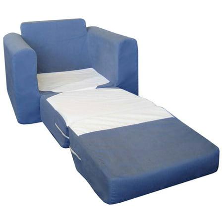 Chair Sleeper, Blue Micro - Microsuede Chair Bed