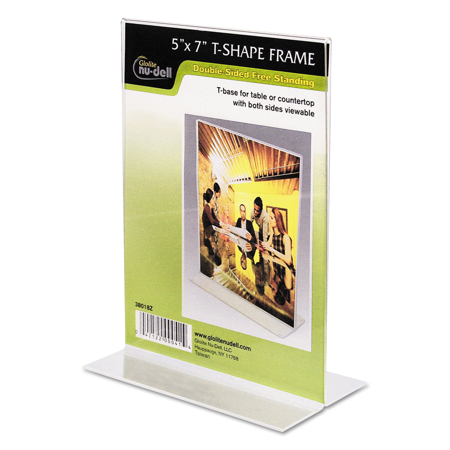 "5"" x 7"" Table Top Double Sided T-Base Freestanding Sign Display Frame, Clear"
