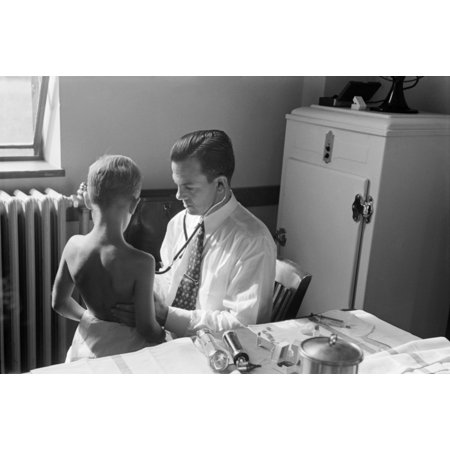 Maryland Doctor 1938 Na Doctor Examining A Child At Preschool Clinic In Greenbelt Maryland Photograph By Marion Post Wolcott September 1938 Rolled Canvas Art     18 X 24