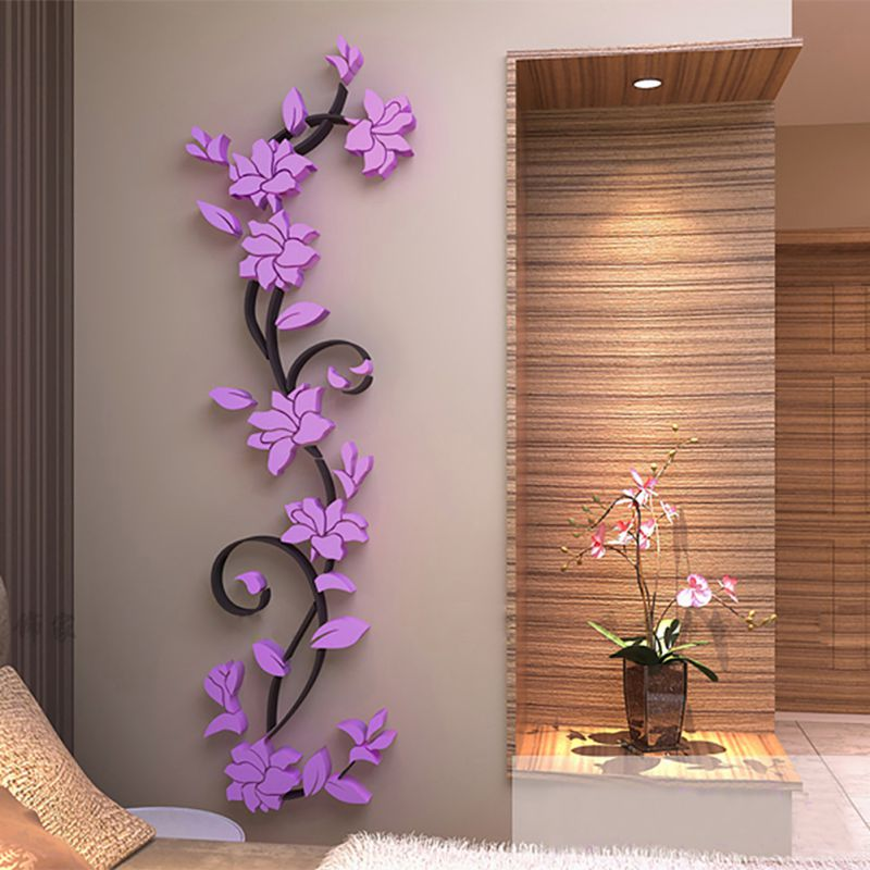 3D Wall Sticker Mirror Flowers Decal DIY Home Room Art Mural Decor Removable