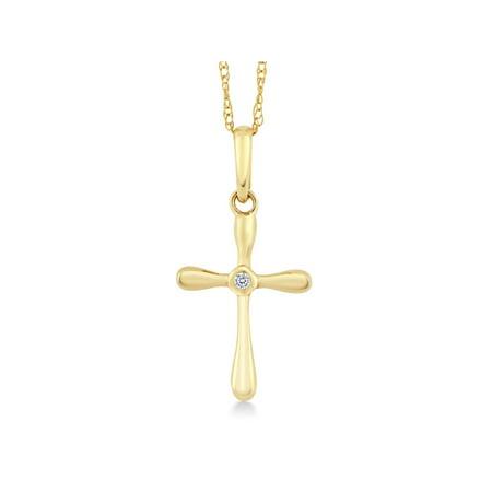 10k Yellow Gold White Diamond Cross Pendant Necklace with 18