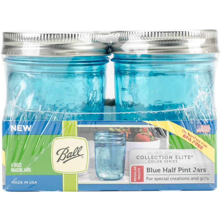 Ball (R) Regular Mouth Canning Jars 4 pkg-Half Pint Elite Color Series Blue by Loew-cornell
