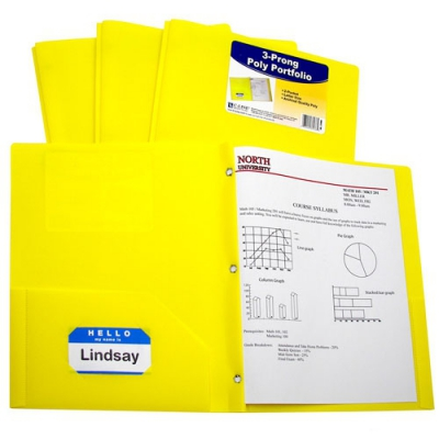 Two-Pocket Heavyweight Poly Portfolio Folder with Prongs (Set of 12 EA) CLI33...