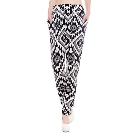Fashion Women Loose High Waist Pants Ladies Casual Harem Pants Trousers (Lined Silk Trousers)