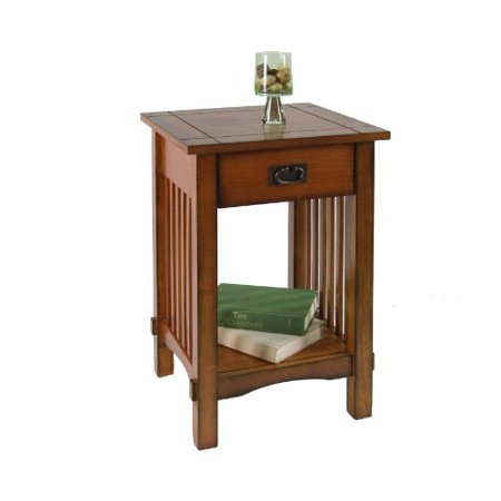 Antique American Oak Furniture - Furniture of America Liverpool 1-Drawer End Table, Antique Oak
