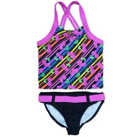 Angel Beach Girls Pink Cherry Print Tankini Swimming Suit Swim Bathing Suit 2 PC