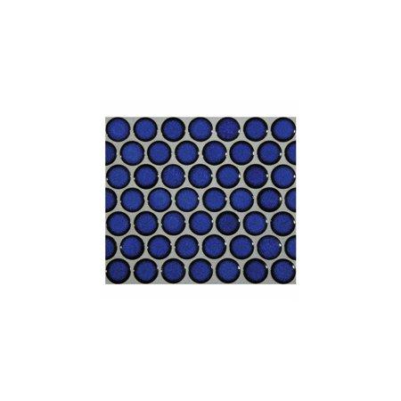 12x12 cobalt blue porcelain penny round glossy look for bathroom floors and walls, kitchen backsplashes, pool mosaic (Ceramic Or Porcelain Tile For Bathroom Floor)