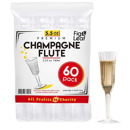 Fig & Leaf (60 Count) Premium Champagne Flutes 5.5-Ounce Hard Plastic l Two Piece l Crystal Clear Champagne Glasses 5.5-OZ l Perfect for Mimosas Moscato Cocktails Wine Wedding ()