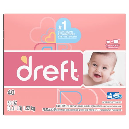 Dreft , Powder Laundry Detergent, 53 Oz 40 loads (Best Baby Detergent And Fabric Softener)