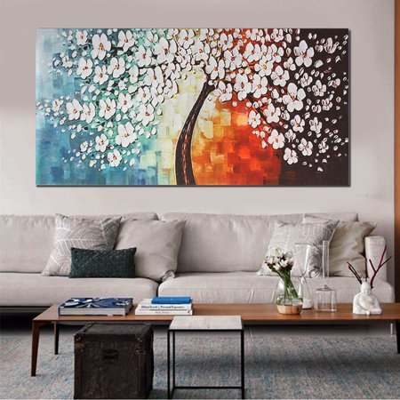 120x60cm Unframed Canvas Prints Picture White Plum Blossom Home Wall Art Abstract Painting Decor No Frame Walmart Canada