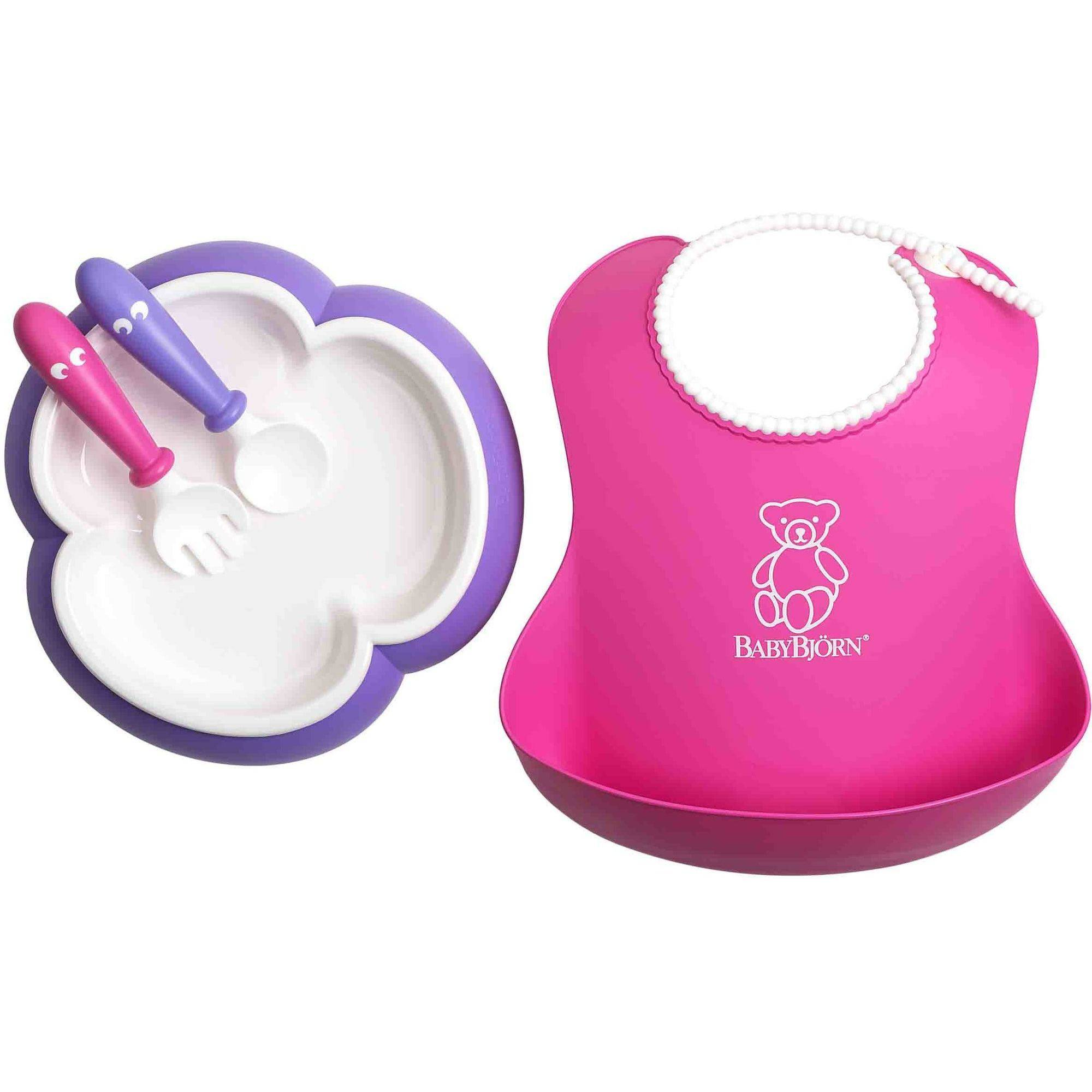 BabyBjorn Baby Feeding Set, Pink Soft Bib, Purple Plate, Purple Spoon and Pink Fork by BabyBj%C3%B6rn