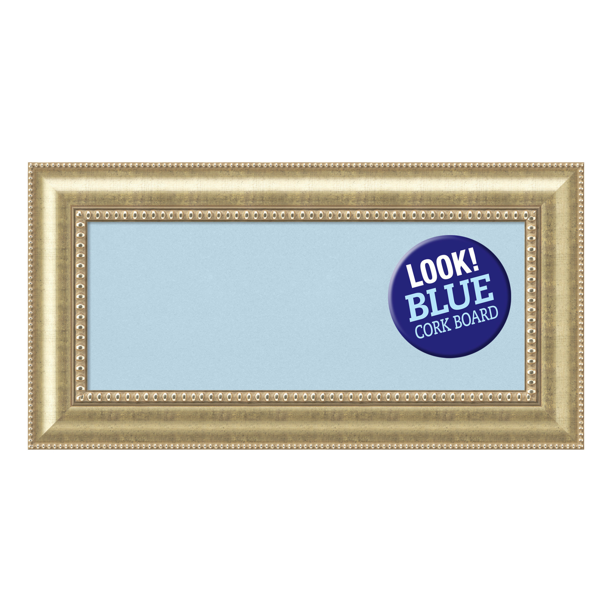 Amanti Art Framed Blue Cork Board, Astoria Champagne