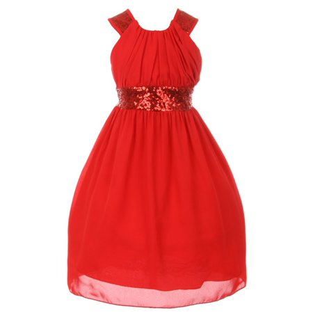 Cinderella Couture Big Girls Red Dazzling Sequin Pleated Dress