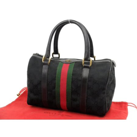 Gucci Boston Sherry Monogram Web 229819 Black Canvas Satchel