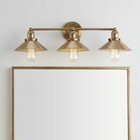 "August 26.5"" 3-light Metal Vanity Light, Brass Gold"