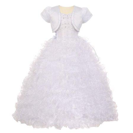 Rainkids Big Girls White Rhinestone Pearl Off Shoulder Communion Dress 10