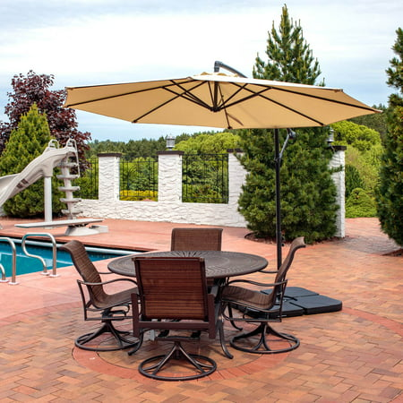 Sunnydaze Steel 10-Foot Outdoor Offset Patio Umbrella with Cantilever, Crank, and Cross Base, 8 Steel Ribs, Beige