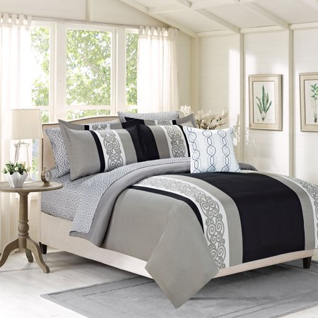 8 piece queen comforter bedding set with sheets black and. Black Bedroom Furniture Sets. Home Design Ideas