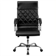 Flash Furniture High Back Designer Quilted Black LeatherSoft Executive Swivel Office Chair with Chrome Base and Arms