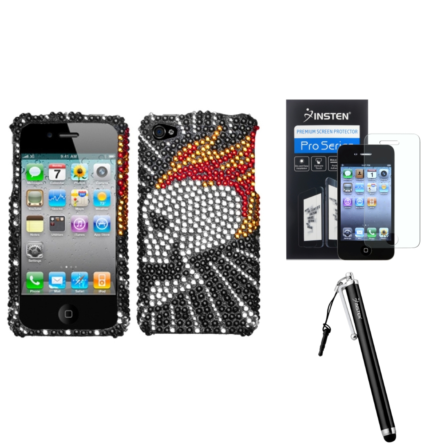Insten Flame Skull Diamante Phone Case For iPhone 4 4S + Stylus + Screen Guard