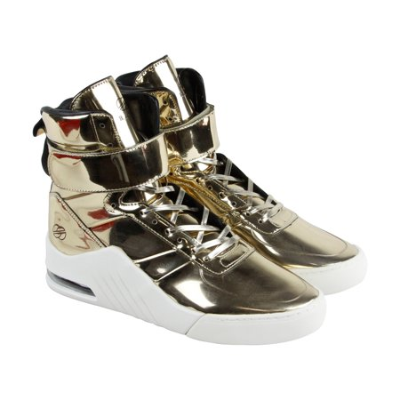 91cdaf07a40f Radii Apex Mens Gold Patent Leather High Top Lace Up Sneakers Shoes
