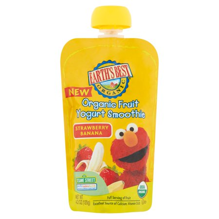 Earth's Best Organic Sesame Street Toddler Fruit Yogurt Smoothie, Strawberry Banana, 4.2 oz. Pouch