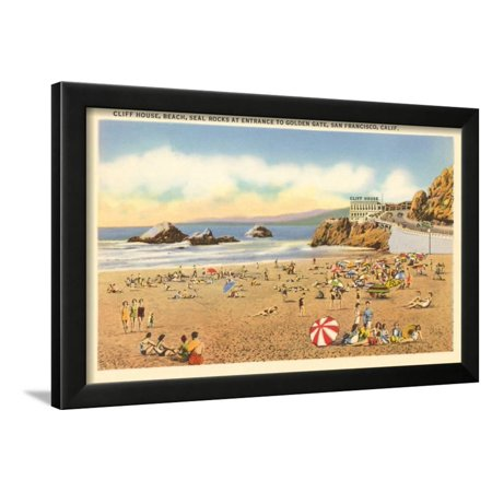 Beach House 4 Framed - Cliff House Beach, Seal Rocks, San Francisco, California Framed Print Wall Art