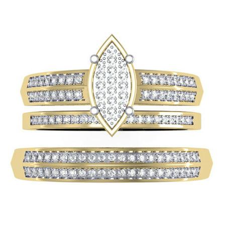 14k Mens Diamond Rings - 0.30 Carat (ctw) 14K Gold Round Diamond Men & Women's Micro Pave Engagement Ring Trio Bridal Set 1/3 CT