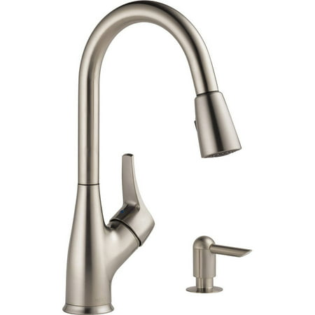 Peerless Single Handle Pull-Down Sprayer Kitchen Faucet with Soap Dispenser in Stainless P88121LF-SD-W