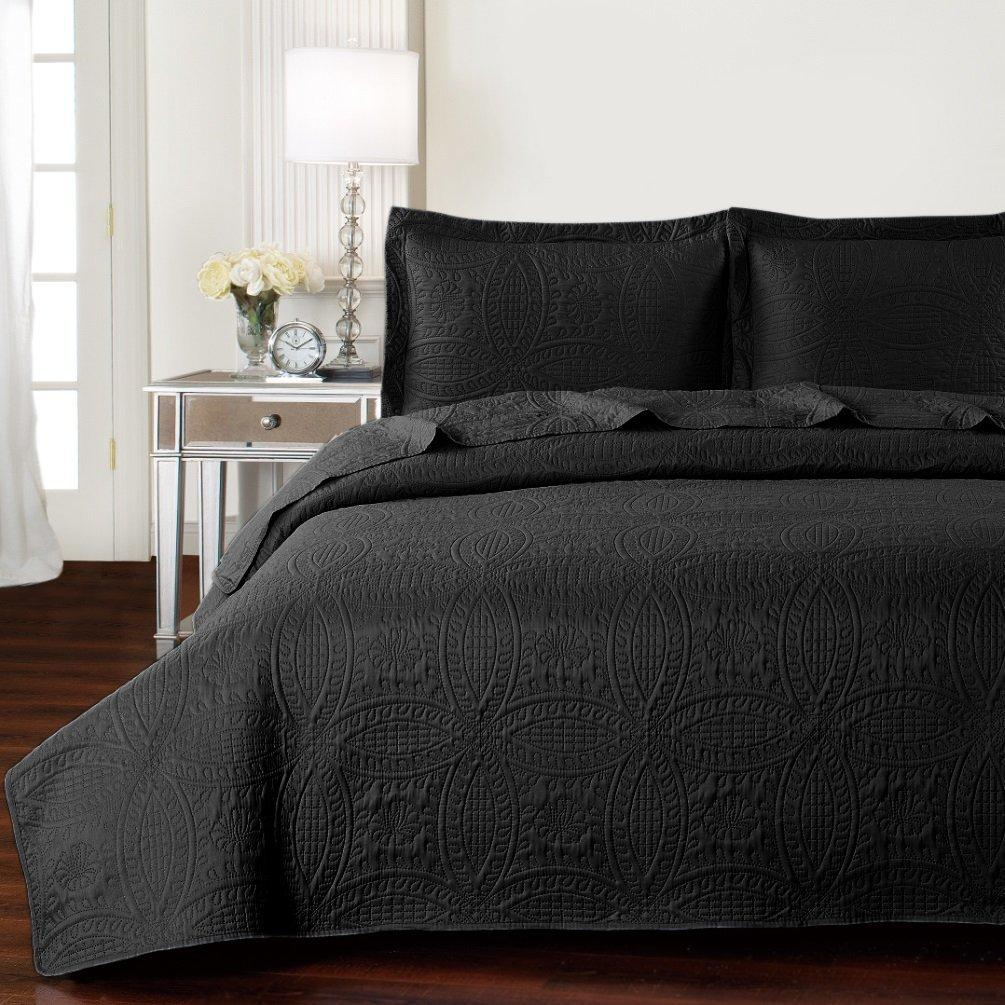 Mellanni Bedspread Coverlet Set Gray - Comforter Oversized 3-Piece Quilt Set (Full / Queen, Light Gray)