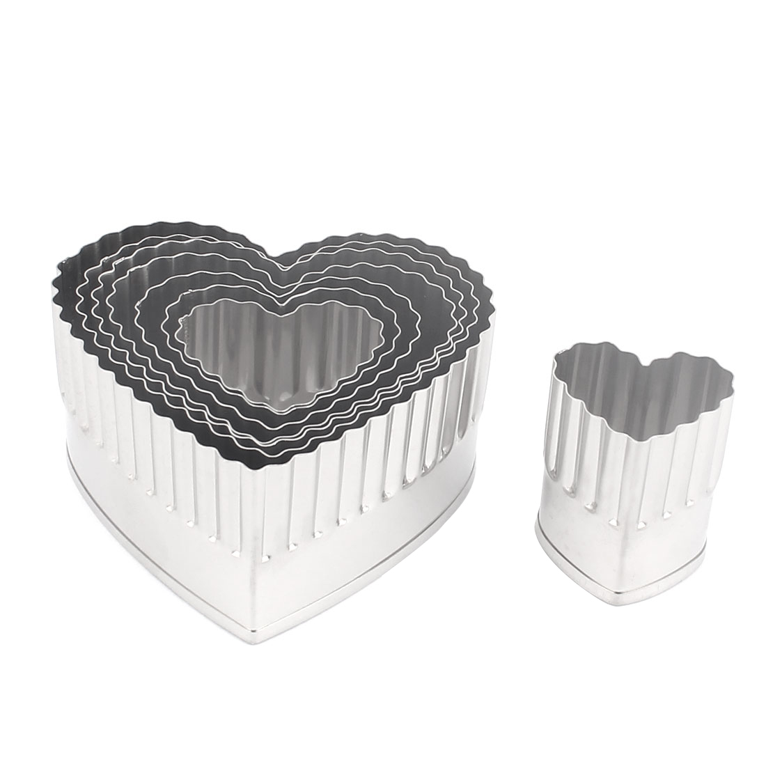 Unique Bargains Home Stainless Steel Heart Shape Cake Cookie Mold Cutter Set 8 in 1w Box