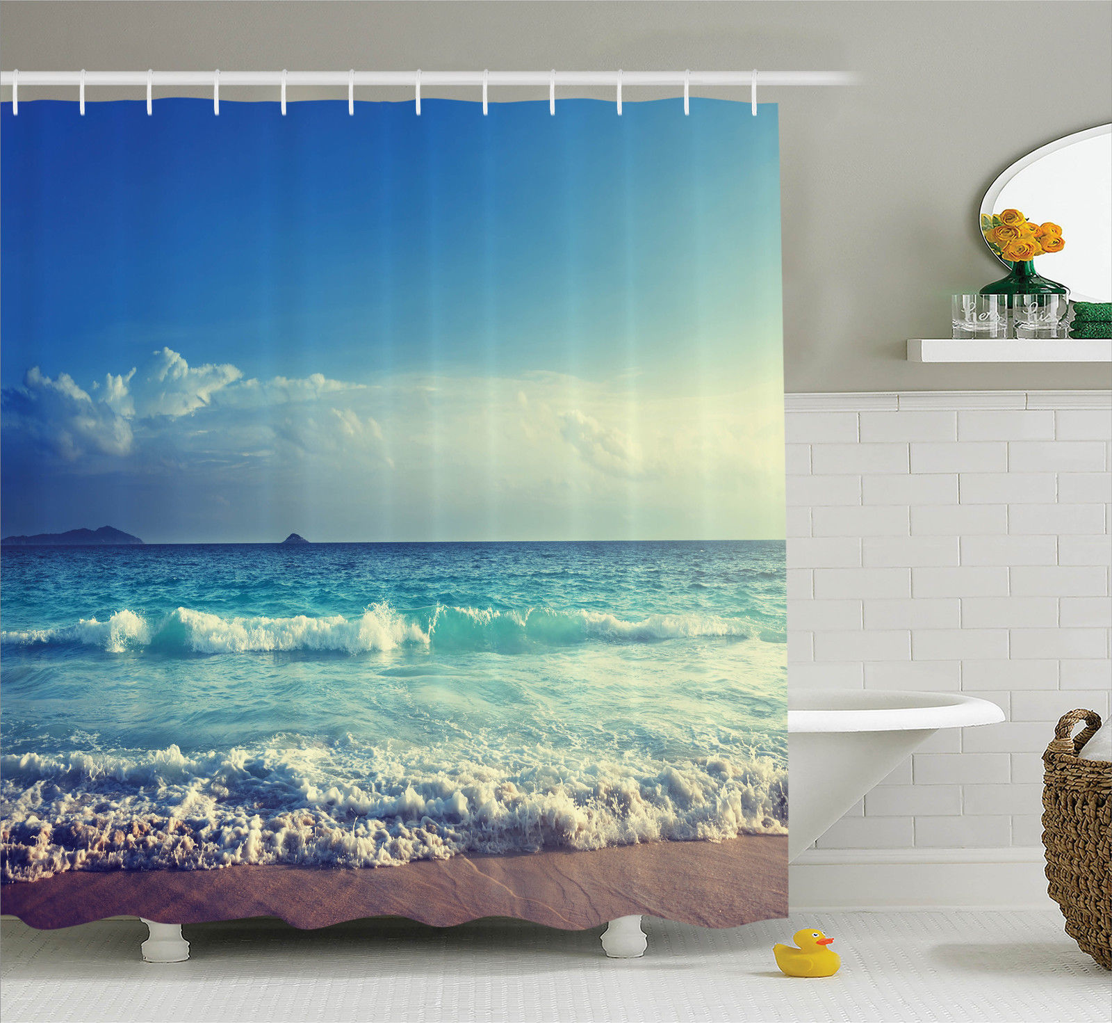 Ocean Decor Shower Curtain Set, Tropical Island Paradise Beach At Sunset Time With Waves And The Misty Sea Image, Bathroom Accessories, 69W X 70L Inches, By Ambesonne
