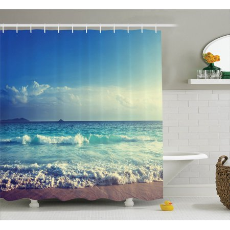 Ocean Decor Shower Curtain Set Tropical Island Paradise Beach At Sunset Time With Waves And