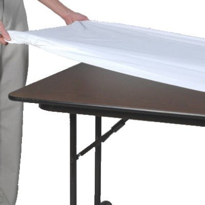 Kwik Covers White Plastic Fitted Table Cover 6ft X 30in Reusable Or