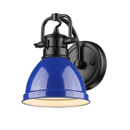 Duncan 1 Light Bath Vanity in Black with a Blue Shade