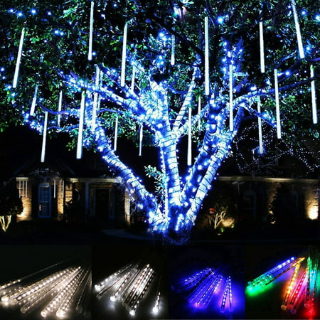 TSV LED Falling Rain Lights with 30cm 8 Tube 144 LEDs, Meteor Shower Light, Falling Rain Drop Christmas Lights, Icicle String Lights for Holiday Party Wedding Christmas Tree - Christmas Cube Decorating