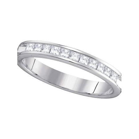 14kt White Gold Womens Princess Diamond Single Row Wedding Band 1/2 (Ct Tw Princess Diamonds Band)