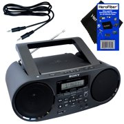 Sony Bluetooth & NFC (Near Field Communications) MP3 CD/CD-R/RW Portable MEGA BASS Stereo Boombox with Digital Radio AM/FM tuner & USB Playback + Auxiliary Cable & HeroFiber® Gentle Cleaning Cloth