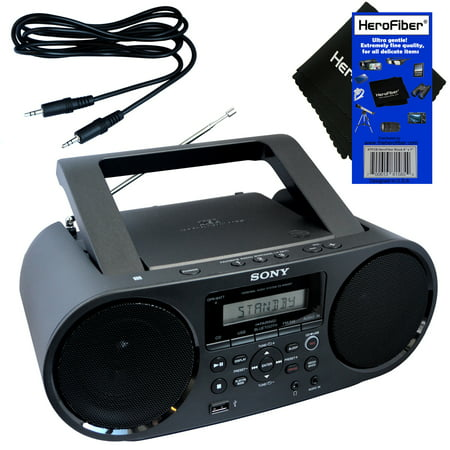 Sony Bluetooth & NFC (Near Field Communications) MP3 CD/CD-R/RW Portable MEGA BASS Stereo Boombox with Digital Radio AM/FM tuner & USB Playback + Auxiliary Cable & HeroFiber® Gentle Cleaning Cloth (Sony Under Mount Radio Cd Player)