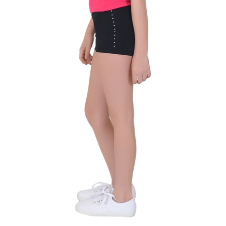 Girl's Spandex Boy Cut Rhinestone Booty Shorts - X Small (4) / Black
