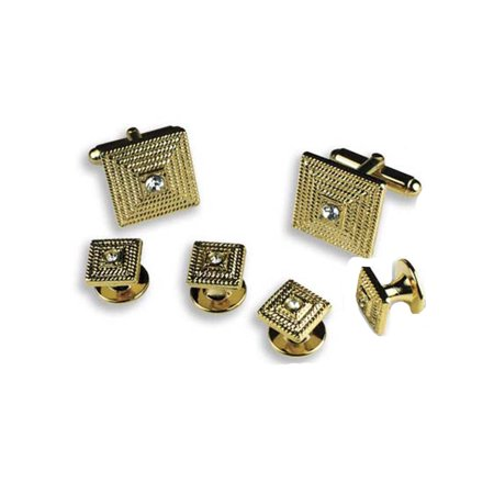 Gold Square with Clear Stone Center Cufflinks and - Clear Cufflinks