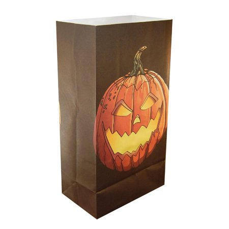 Club Pack of 24 Jack O'Lantern Design Halloween Luminaria Bags 11