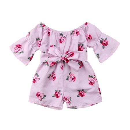 Child Toddler Kids Baby Girls Straps Off Shoulder Sunsuit Jumpsuit Bodysuit Outfit Summer Clothes (Toddler Jumpsuit)