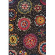 Moretti Prism Area Rugs - 1333N Transitional Casual Charcoal Floral Vines Circles Aboriginal Rug