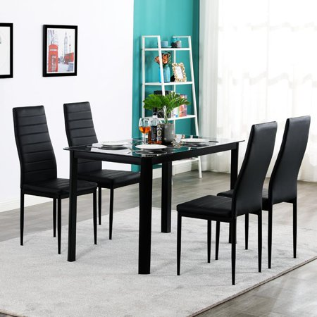 Ktaxon 5 Piece Kitchen Dining Table Set with Glass Table Top 4 Chairs and Metal Frame Table for Breakfast Dining Room Kitchen Furniture ()