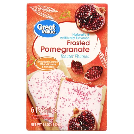 Great Value Toaster Pastries, Frosted Pomegranate, 11 oz, 6 Count