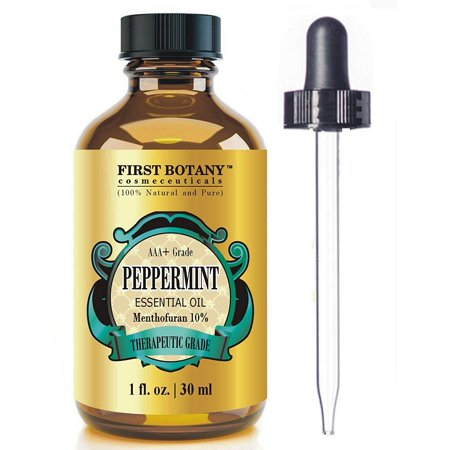 Peppermint Essential Oil 1 fl. oz Menthofuran 10% with Glass Dropper - 100% Natural Premium Grade Best Fresh Scent for Home and Work & Perfect Repellent for Mice and