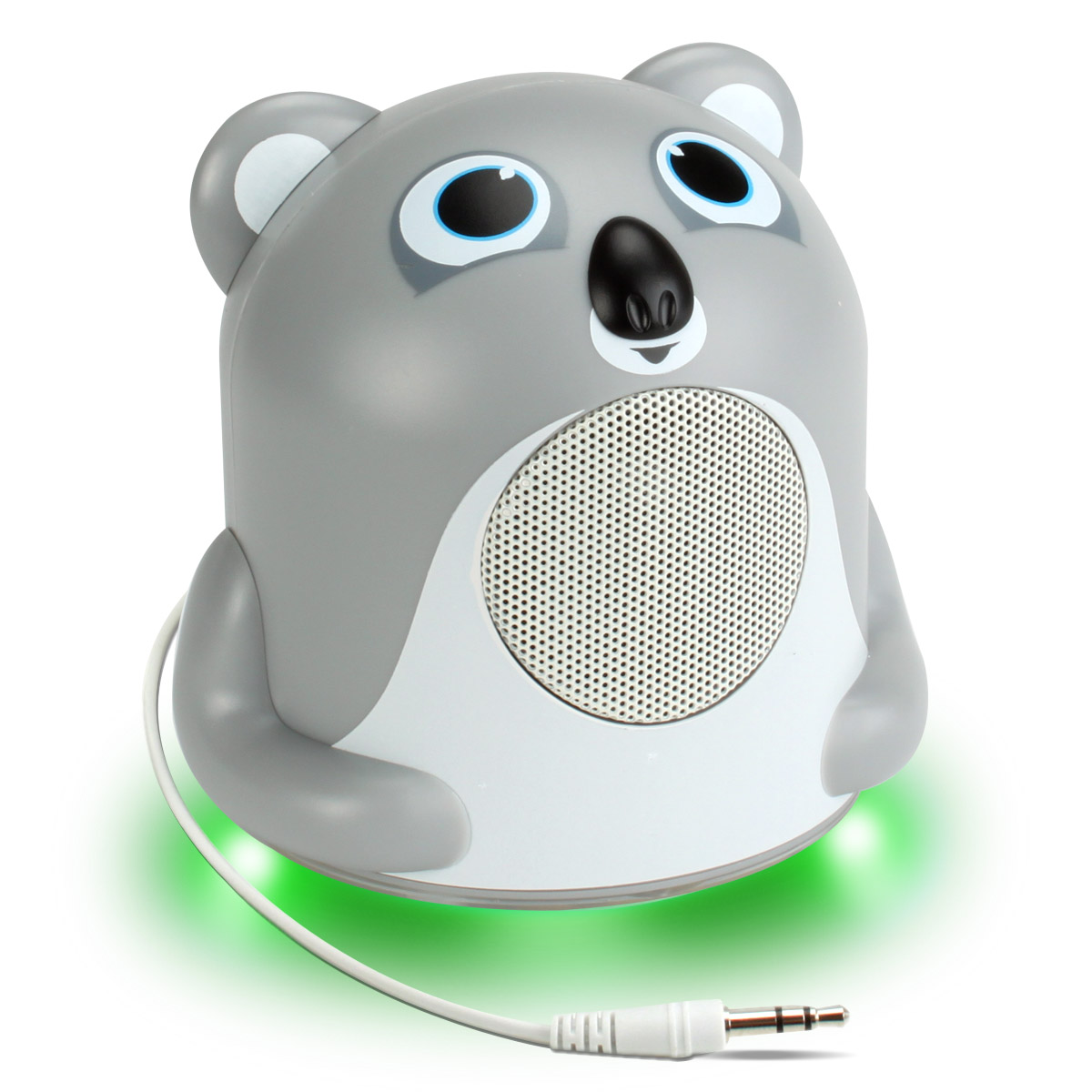 GOgroove Koala Bedside Speaker with LED Glow , Cute Animal Design & 3.5mm Cable to Connect to Phones Works with Apple , Samsung , LG & More