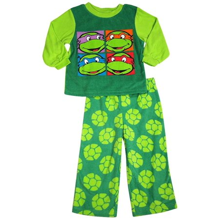 Teenage Mutant Ninja Turtles Toddler Boys Long Sleeve Sleepwear Pajama Set, 38239 Green/Dark Green / 2T - Ninja Turtle Footed Pajamas For Adults